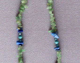 Adventurine, Lapis, Turquoise, and Crystal necklace  18 inches.