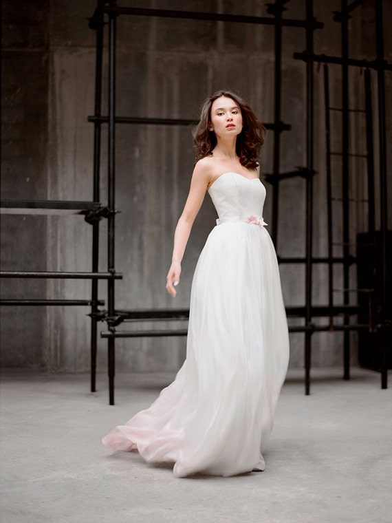 Milada silk wedding gown ombre wedding dress by for Pink ombre wedding dress