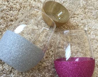 Glitter Dipped Stemless Wine Glass