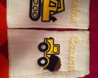 Two personalised monogrammed baby boy burp rags