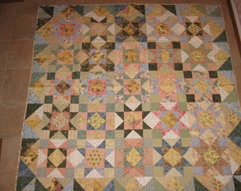 Shabby Chic Multicolor Star Quilt, throw or twin size