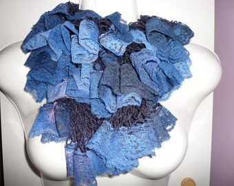 Blue scarf with lace trim