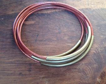Metallic Copper Leather Bangles, Stacking Bracelets, Bangles, Bangle Bracelets, Boho Bracelets
