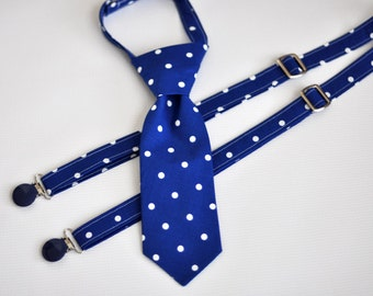 Little Guy Tie and Suspenders - Royal Blue with White Dots Little Guy Tie and Suspenders - Blue Tie Suspenders