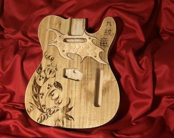 Custom Tribal Koi Fish Tattooed Telecaster Guitar Body with Custom Wood Pickguard and Gloss Polyurethane Finish - One of a Kind!