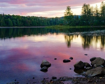 Pink Sunset Photo from the Adirondack Mountains, Sunset Photography, Adirondack Sunset Photo, Fine Art Photography, Sunset Print, Pink Sky