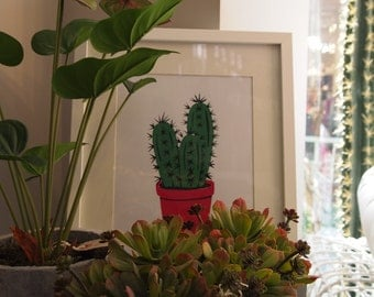 Cactus in pink pot A4 signed