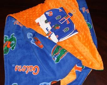 Florida Gators Baby Set-includes Minky/Fleece Blanket, 2 Burp Cloths, and a Pacifier Clip