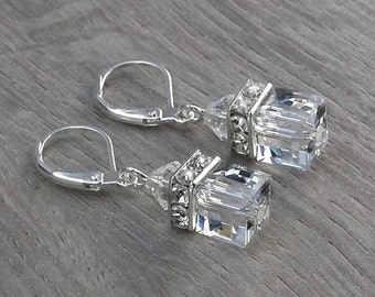 CORALINE bridal earrings with Swarovski crystal clear bicones and cubes and sparkly square rhinestones rondelles