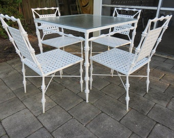 Five Piece Faux Bamboo Mid Century Modern Outdoor Patio Furniture By Phyllis  Morris.