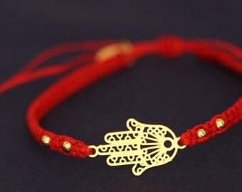 red hamsa bracelet gold plated hamsa bracelet adjustable bracelet water proof