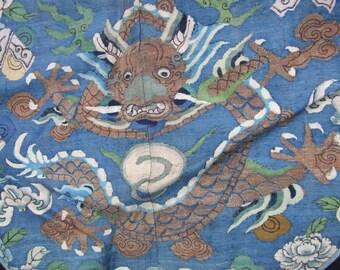 Antique Chinese Silk Kesi Weave Dragon Robe Panel