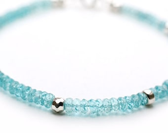 Apatite Bracelet December Birthstone Silver Beaded Gemstone Bracelet December Birthday Gift Beadwork Bracelet Apatite Jewelry Gift For Her