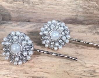 Rhinestone Hair Pins / Pearl Hair Pins / Bridal Accessories / Bride's Hair Jewelry / Bride Hair Accessory / Prom Hair Jewelry