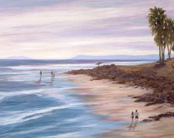 Beach greeting card, Sunset at Surfer's Point with surfer going out, from original oil painting by Tina O'Brien