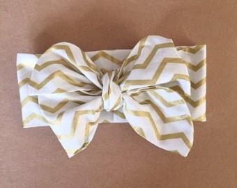 Gold Chevron headwrap, headband, head wrap