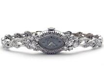 14k White Gold 2ct Diamond Hamilton 17 Jewel Manual Bracelet Watch 780 Beautiful