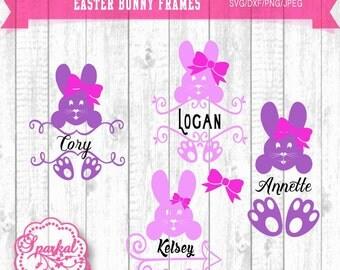 Easter Monogram SVG Frames Easter Clipart, Bunny Monogram Frame Cutting file Svg,Dxf,Png Cricut design Space, Silhouette Studio Easy Weed