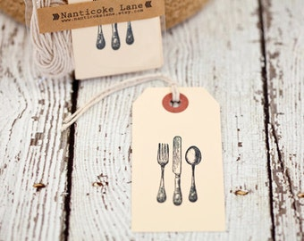 Vintage silverware tags, set of 10, kitchen tags, gift tags, paper supplies, cooking, lets eat, cooking tags