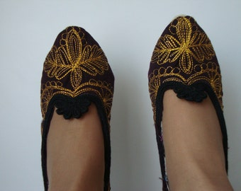 Ladies Slippers Vintage,  Handmade Wool Dark Brown Slippers with hand embroidered, gold
