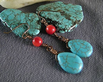 SALE - Turquoise Teardrop and Coral  Earrings - Tribal Native American - Egyptian