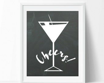 Cheers! typography, martini glass art, printable, home decor, kitchen and bar art decor, 8x10 instant download