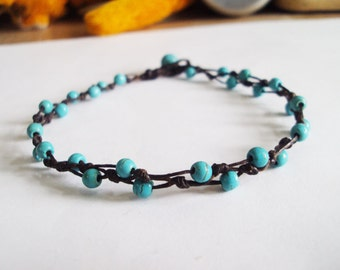 Turquoise anklets,Beadwork anklets,Women anklets,stone anklets