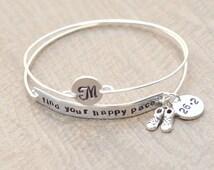Marathon bracelet - Find your happy pace - Runners jewelry - Half Marathon - Full Marathon - Personalized bracelet - Monogram Initial