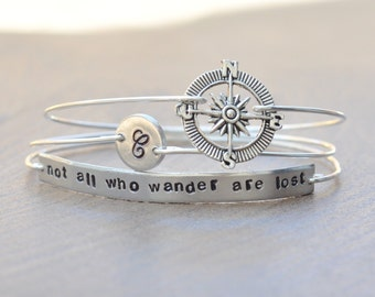 Not all who wander are lost - Graduation Jewelry - Traveller's Jewelry - set of 3 stamped bangles - initial monogram disk, compass charm
