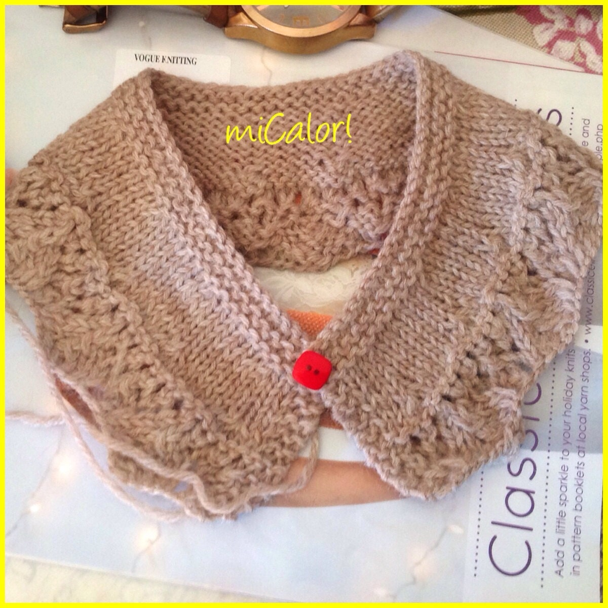 Knitting Pattern Lace Collar : Knit Accessories Lace pattern Collar by miCalorKnits on Etsy