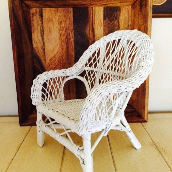 Reserved Shirley White Wicker Doll Chair By Christmasmemory