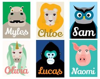Custom Baby Nursery, Personalized Animal Prints, Animal Art, Modern Nursery Decor, Nursery Wall Art, Baby Wall Art, Baby Gift, Nursery Decor