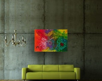 Dandelion 36 x 24 Mixed Media Original Sublime Modern Abstract Painting By Martha Brito