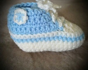 Crochet Blue and Cream Baby High-top Sneakers
