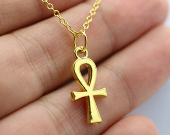 Yellow Gold Religious ANKH Cross Charm Pendant Necklace Egyptian Peace Faith