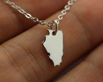 ILLINOIS STATE CHARM Necklace - 925 Sterling Silver - Illinois State Jewelry New