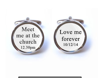 Custom Meet me at the Church Wedding Cufflinks