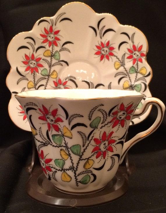 vintage rosina bone china tea cup and saucer england bright. Black Bedroom Furniture Sets. Home Design Ideas
