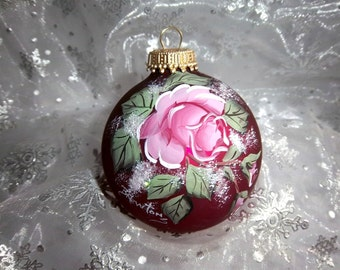 Rose Ornament, Pink Rose, Victorian Christmas, Deep Burgandy Bulb, Hand-Painted Glass Ornament,