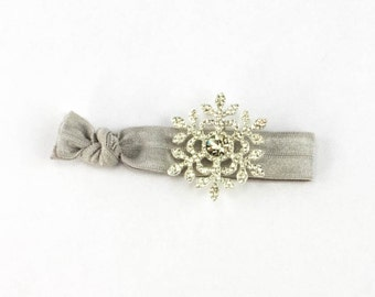 Snowflake Hair Tie - 1 Silver Rhinestone Elastic Hair Ties that Double as Bracelets