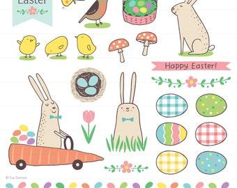 Sweet Easter Clip Art - Easter clipart, spring clipart, spring clip art, bunny clipart, egg clipart