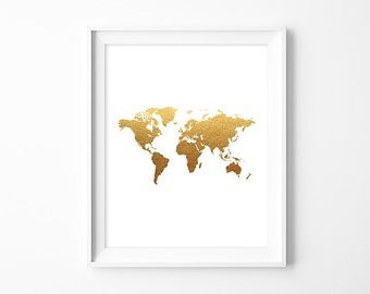 Gold foil map etsy gumiabroncs Image collections