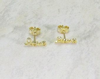 Love Sign Minimal Sterling Silver Earrings in 18K Rose Gold Vermeil