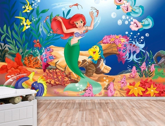 Little Mermaid Wall Mural, Ariel, Wallpaper, Wall décor, Wall decal, Nursery