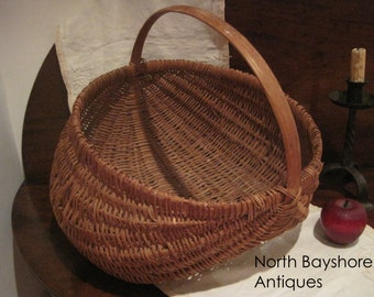 Antique 1800s Rare Appalachian Handmade White Oak Rod Woven Splint Basket (NBA-438)