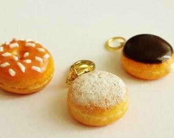 Miniature Doughnut Charms-Polymer Clay Food Jewelry-Miniature Food Charm