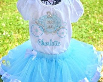 Cinderella Blue White Princess Tutu Set Disney Carriage Personalized