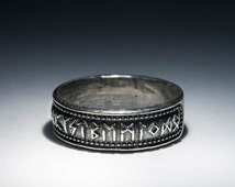 Elder Futhark Runes Ring, Nordic Style, silver-plated brass, size US 11.5 / 21 mm, handmade