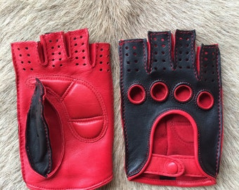 Women's fingerless Driving Gloves  Fitness Gloves Cycling Gloves Women's Fingerless Fashion Hungant Leather Gloves Palm Padded