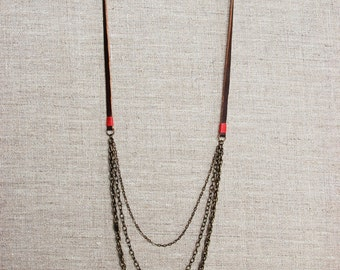 Brown Leather and Brass Necklace